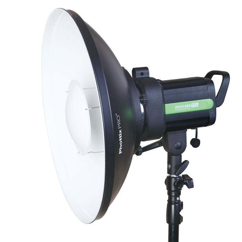 Phottix Pro Beauty Dish MK II with Bowens Speed Ring (42cm, 16″, White) accepts Luna Speed Rings