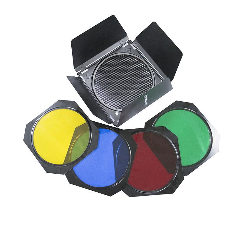 Phottix Barndoors, Grid and Gel Set (for 7″ reflectors)